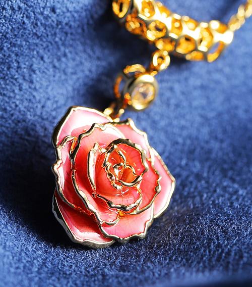 粉色玫瑰花吊坠