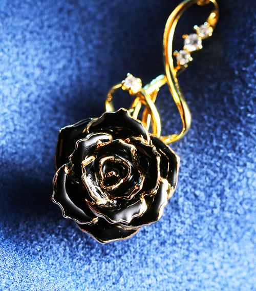 黑色玫瑰花吊坠