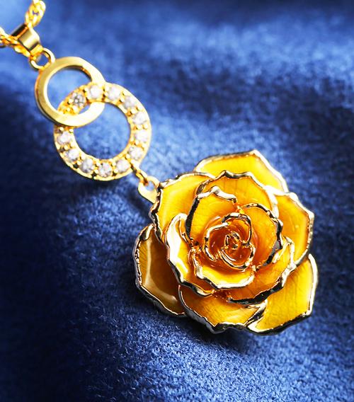 黄色玫瑰花吊坠