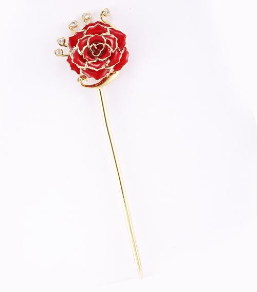 红色玫瑰花发簪