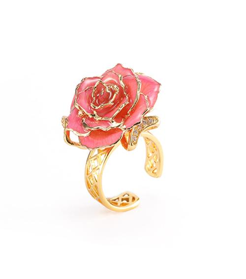 粉色玫瑰花戒指