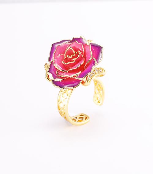 渐变紫色玫瑰花戒指