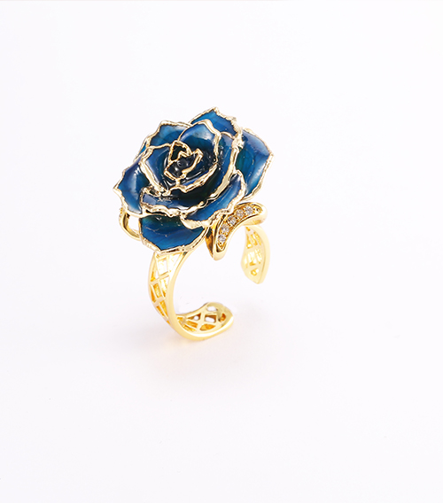 蓝色玫瑰花戒指