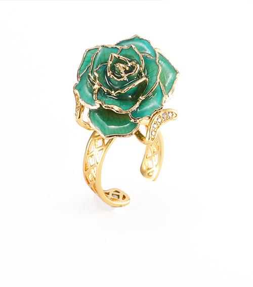 天蓝色玫瑰花戒指