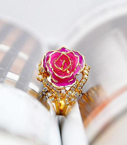 玫红色玫瑰花首饰套装