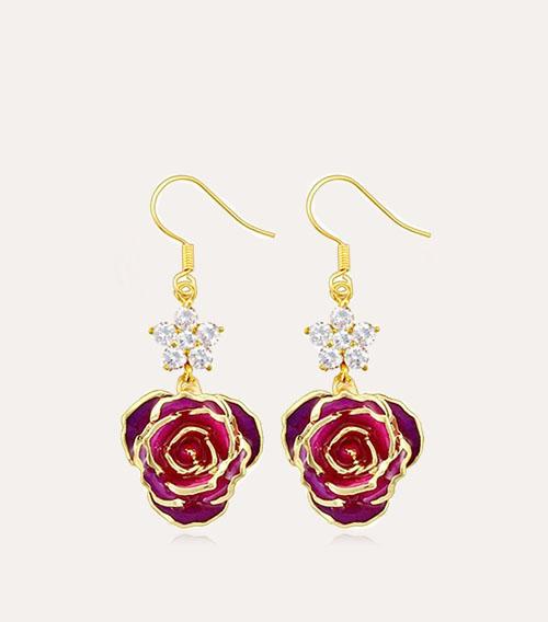 六钻玫瑰花耳环