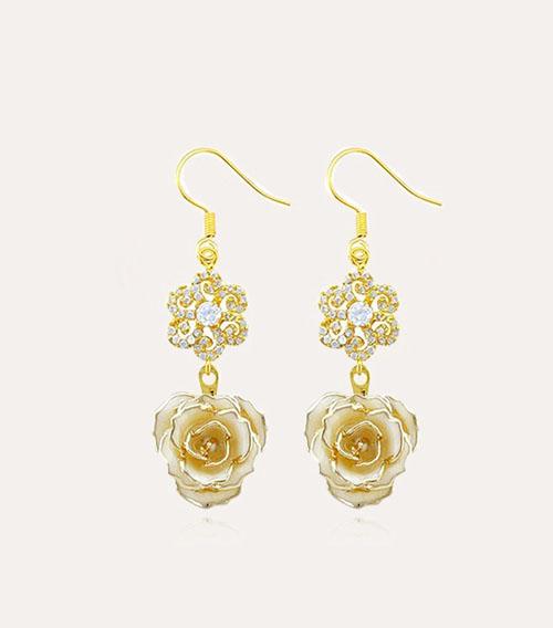 花型钻玫瑰花耳环