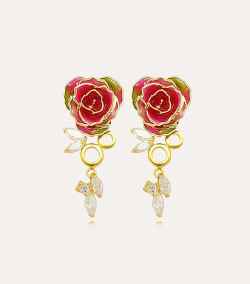 蜻蜓款玫瑰花耳环
