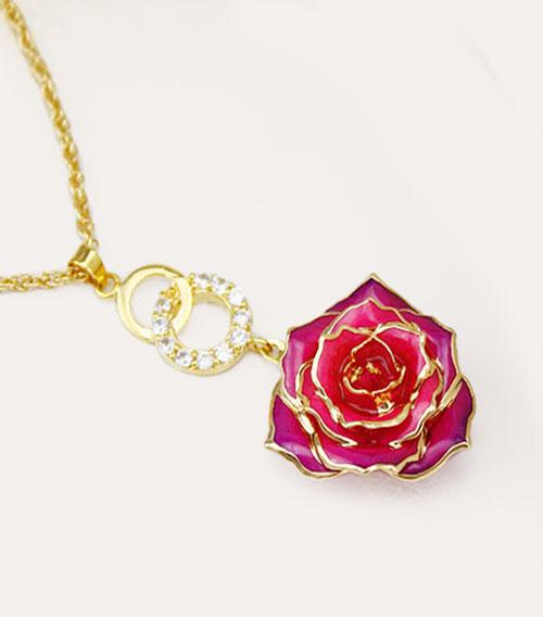 红渐变紫玫瑰花吊坠