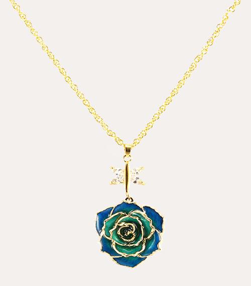 渐变蓝玫瑰花吊坠