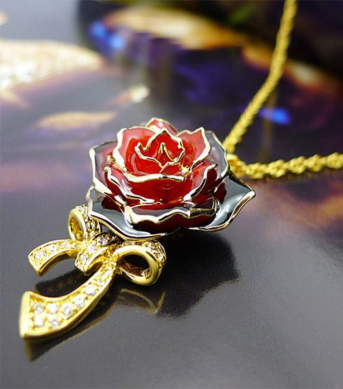 红渐变黑玫瑰花吊坠