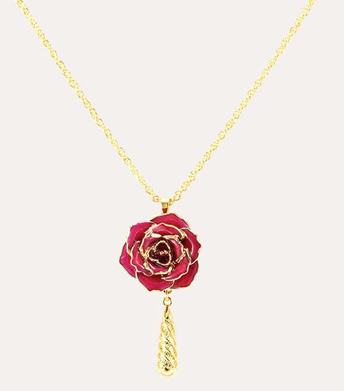 紫色玫瑰花吊坠