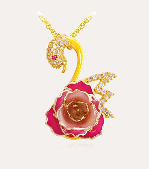 玫瑰花天鹅吊坠