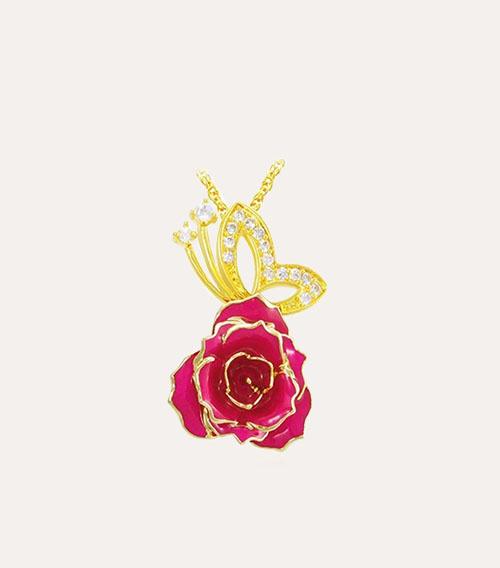 蝴蝶款玫瑰花吊坠