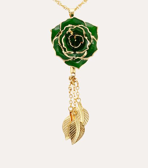 三叶款镀金玫瑰花吊坠