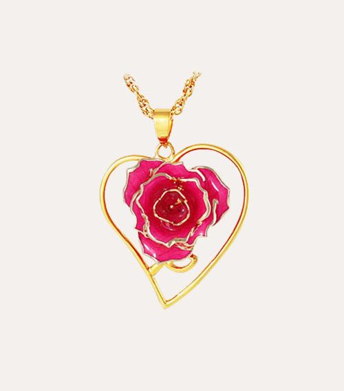 心形镀金玫瑰花吊坠