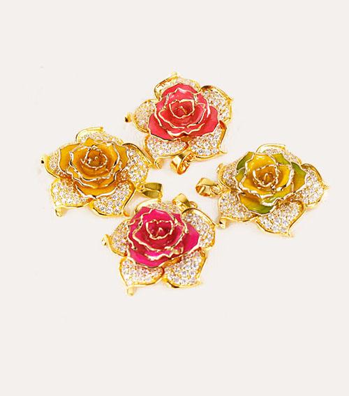 花瓣型镀金玫瑰花吊坠