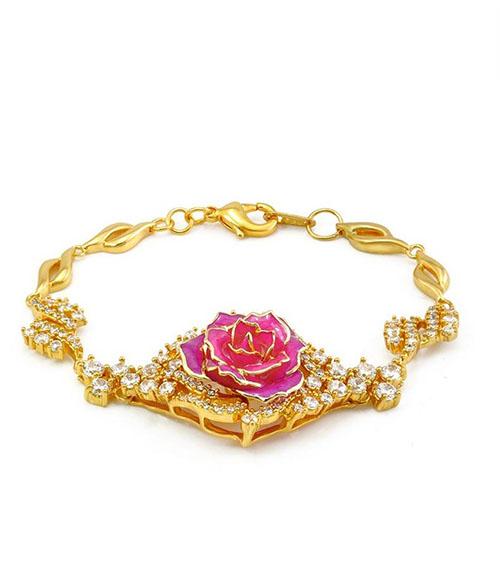 玫红色镀金玫瑰花手链