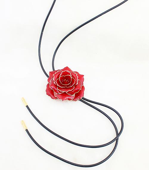 红色镀金玫瑰花手链