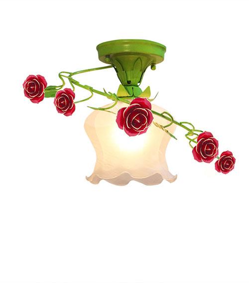 红色镀金玫瑰花花灯
