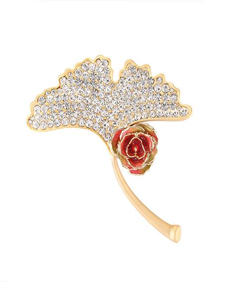 扇形镀金玫瑰花胸针