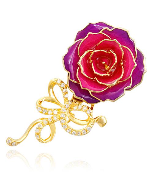 渐变色紫镀金玫瑰花胸针