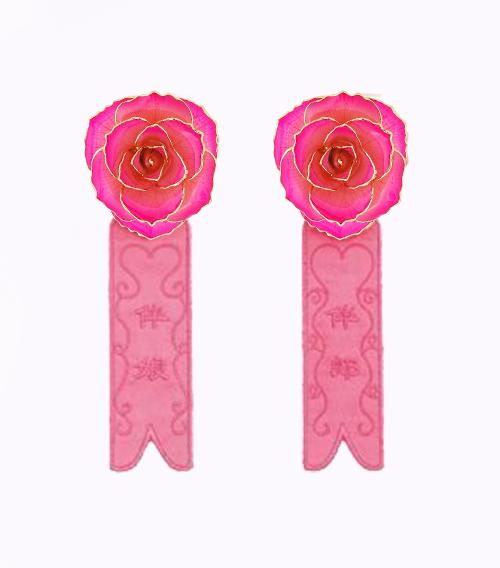 粉色镀金玫瑰花伴郎伴娘